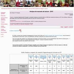Analyse de manuels de lecture - 2015 - lecture, manuel, méthode