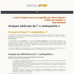 Analyse médicale - OSTEO STOP