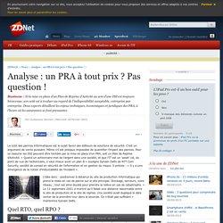Analyse : un PRA à tout prix ? Pas question !