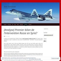 [Analyse] Premier bilan de l'intervention Russe en Syrie?