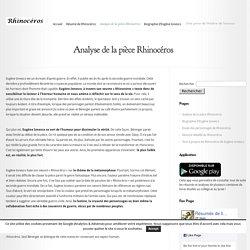 Analyse de la pièce Rhinocéros - Rhinocéros de Ionesco