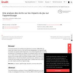 Une analyse des écrits sur les impacts du jeu sur… – Revue des sciences de l'éducation