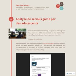 Analyse de serious game par des adolescents