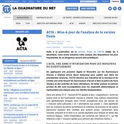 ACTA: Mise-à-jour de l'analyse de la version finale