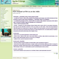 HDA Analyser un film ou un doc vidéo - Collège St Eutrope