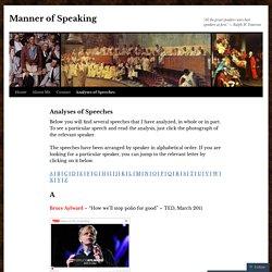Analyses of Speeches