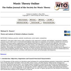 MTO 6.2: Tenzer, Theory and Analysis of Melody in Balinese Gamelan