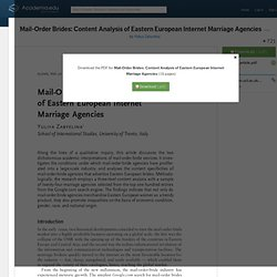 Mail-Order Brides: Content Analysis of Eastern European Internet Marriage Agencies