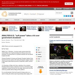 """ANALYSIS-U.S. """"soft power"""" takes a hit over government shutdown"""