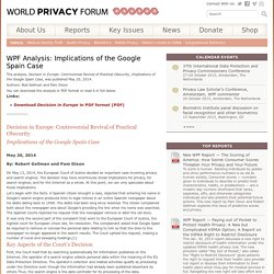 WPF Analysis: Implications of the Google Spain Case