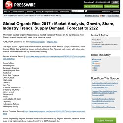 Global Organic Rice 2017 : Market Analysis, Growth, Share, Industry Trends, Supply Demand, Forecast to 2022