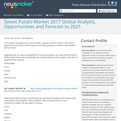 Sweet Potato Market 2017 Global Analysis, Opportunities and Forecast to 2021