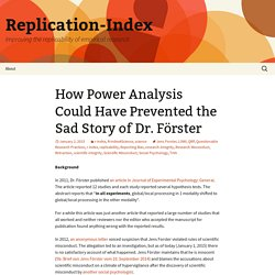 How Power Analysis Could Have Prevented the Sad Story of Dr. Förster