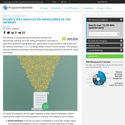 Aylien's Text Analysis API Makes Sense of the Internet