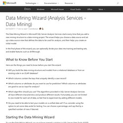 Data Mining Wizard (Analysis Services - Data Mining)