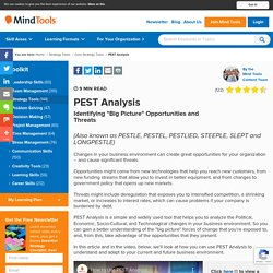 PEST Analysis - Strategy Tools From MindTools.com