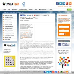 SWOT Analysis Video - Strategy skills training
