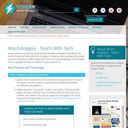 Word Analysis - Teach With Tech