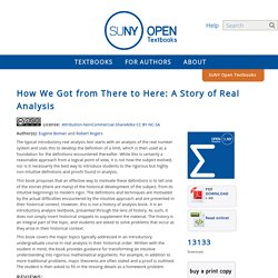 How We Got from There to Here: A Story of Real Analysis - SUNY Open Textbooks OER Services