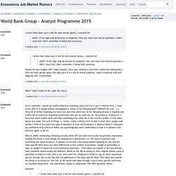 World Bank Group - Analyst Programme 2015 « Economics Job Market Rumors