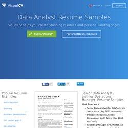 Data Analyst Resume Samples - VisualCV Resume Samples Database