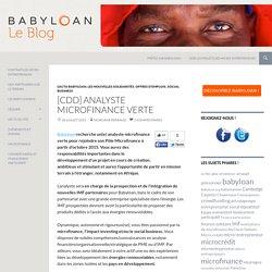 [CDD] Analyste Microfinance Verte
