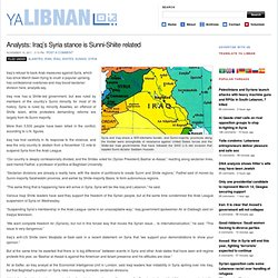 Analysts: Iraq's Syria stance is Sunni-Shiite related