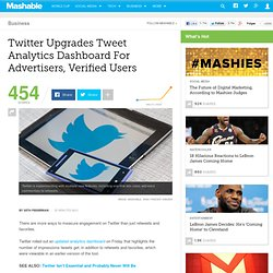 Twitter Upgrades Tweet Analytics Dashboard For Advertisers, Verified Users