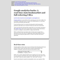 Google analytics hacks: A real-time stats bookmarklet and full referring URLs