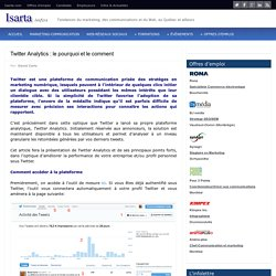 Twitter Analytics : le pourquoi et le comment – Isarta Infos : Marketing, Web et Communications