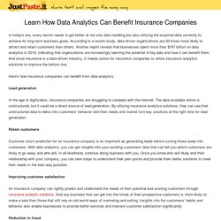 Learn How Data Analytics Can Benefit Insurance Companies