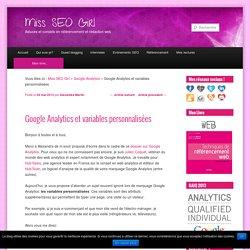Google Analytics et variables personnalisées
