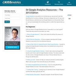 54 Google Analytics Resources - The 2013 Edition
