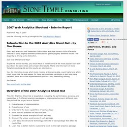 2007 Web Analytics Shootout - Interim Report