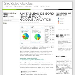 Un tableau de bord simple pour Google Analytics