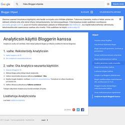 Analyticsin käyttö Bloggerin kanssa - Blogger Ohjeet