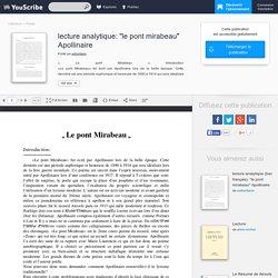 """lecture analytique: """"le pont mirabeau"""" Apollinaire - Poésie"""