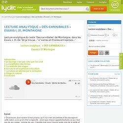 Lecture analytique « Des cannibales » Essais I, 31, Montaigne