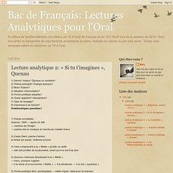 Bac de Français: Lectures Analytiques pour l'Oral: Lecture analytique 2: « Si tu t'imagines », Quenau