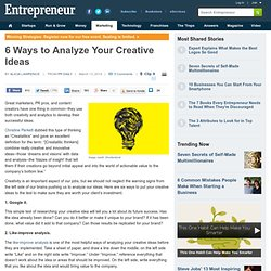 6 Ways to Analyze Your Creative Ideas