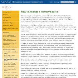 History: How to Analyze a Primary Source