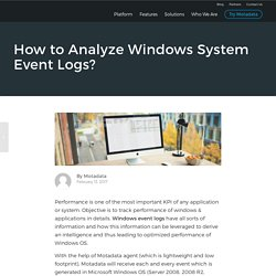 How to Analyze Windows System Event Logs - Motadata
