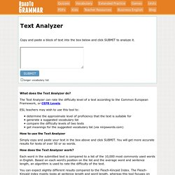 Text Analyzer - Find the CEFR level of texts from RoadtoGrammar.com