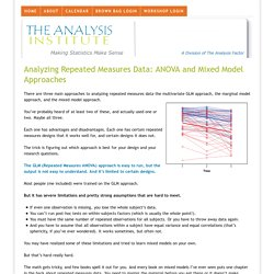 Analyzing Repeated Measures Data: ANOVA and Mixed Model Approaches - The Analysis Institute