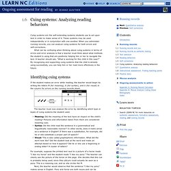 Cuing systems: Analyzing reading behaviors - Running records - Ongoing assessment for reading