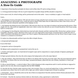 ANALYZING A PHOTOGRAPH