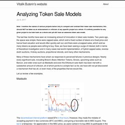 Analyzing Token Sale Models