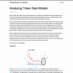 Analyzing Token Sale Models