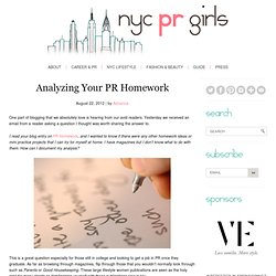 Analyzing Your PR Homework