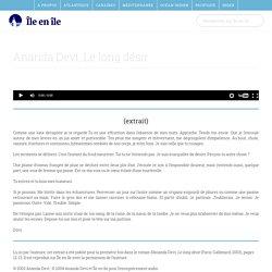 """Ananda Devi : """"Le long désir"""" (extraits lus par l'auteur) - Enregistrement Île en Île"""